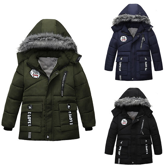Boys Winter Coats&Jacket Children Zipper Long