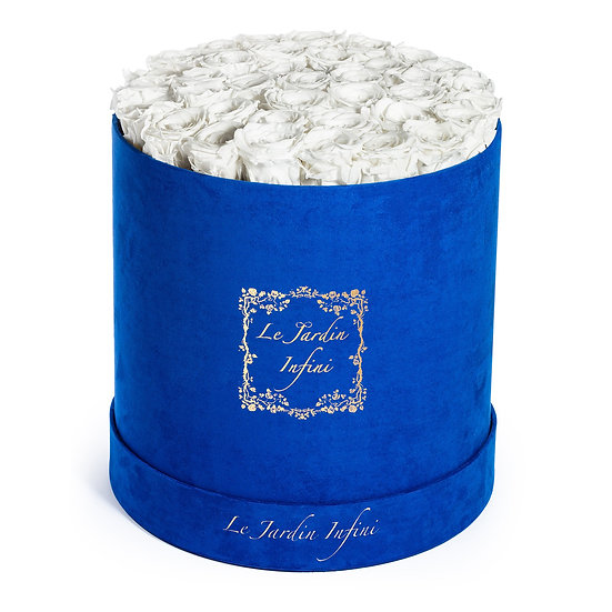 White Preserved Roses - Large Round Luxury Blue Suede Box