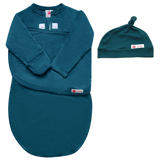 Hat and Starter Long Sleeves Swaddle Bundle (Spruce)