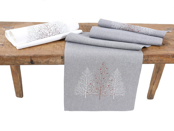 XD19803-Festive Trees Embroidered Christmas Table Runner 16 by