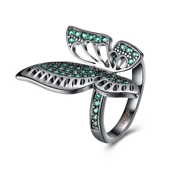 Green Swarovski Elements Large Butterfly Black Rhodium Plating Ring