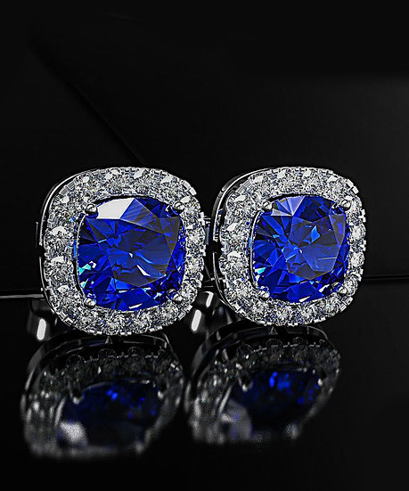 Princess Halo Cut Stud Earring With Swarovski® Crystals - Blue in 18K