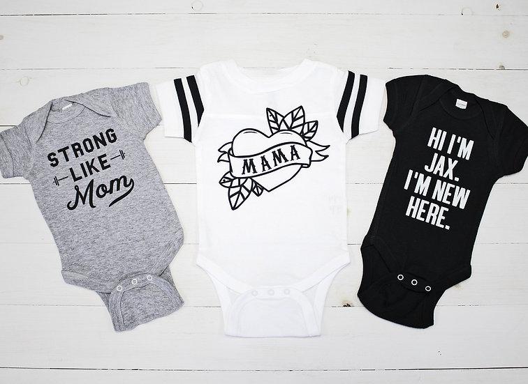New Baby Boy Bodysuit Welcome Set - Custom Name