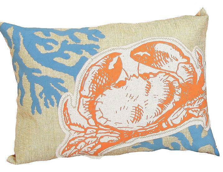 """XD15135 Applique Crab Coastal Pillow 13""""x18"""""""