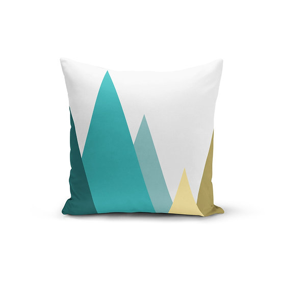 Teal Mountains Pillow Cover