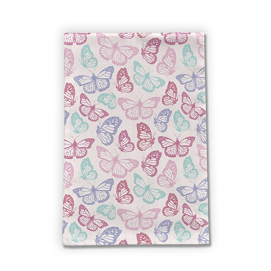 Pink Butterfly Tea Towel