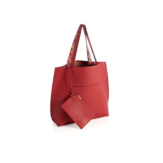 HOLLY REVERSIBLE TOTE,RED