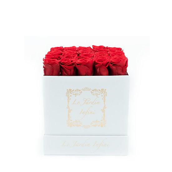 Red Preserved Roses - Medium Square White Box