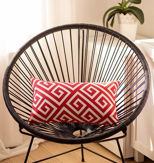 Greek Key Red&White Decorative Lumbar Throw Pillow Cover