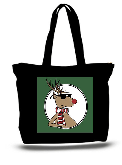 Large  Tote Grocery & Stuff Bag Christmas Reindeer