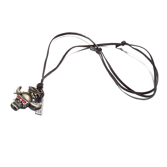 Bull Stainless Steel and Leather Necklace