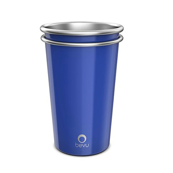 Bevu® FIESTA Steel Cups (2) Cobalt 470ml / 16oz.