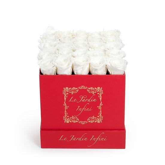 White Preserved Roses - Medium Square Red Box
