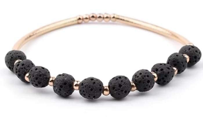 Lava Stone Essential Oil Bracelet - Black Lava Stone and Gold