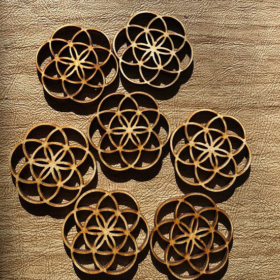 Flower of Life Wooden Beads