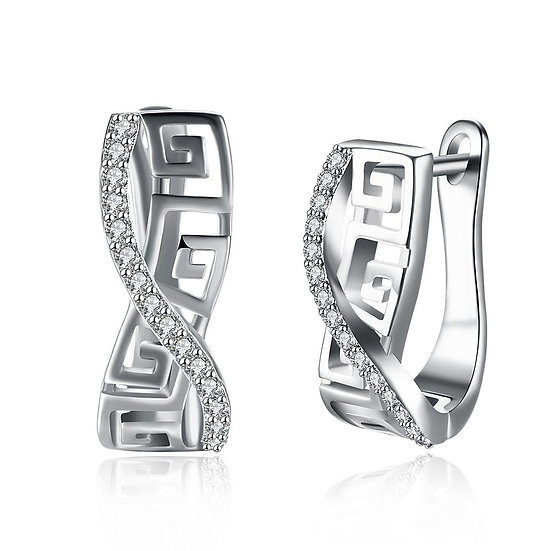 Italian Twist Roman Design Leverback Earring in 18K White Gold Plated