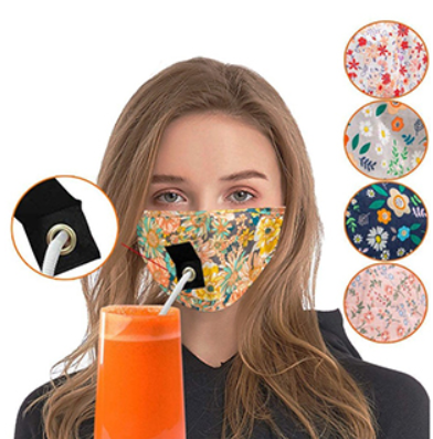 Reusable Face Fabric with Hole for Straw