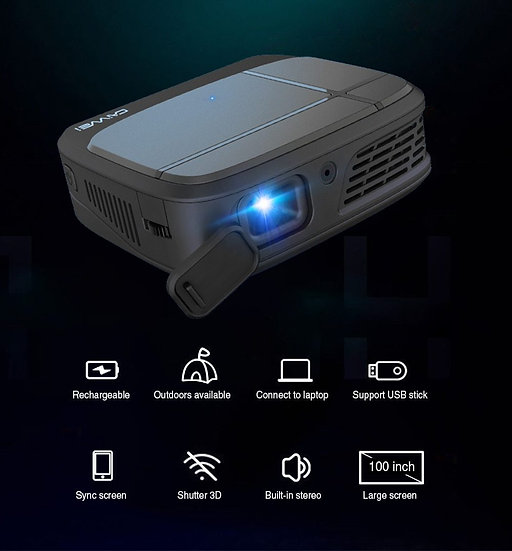 Mini Smartphone Projector DLP 1080P Portable WIFI Battery Beamer 3D