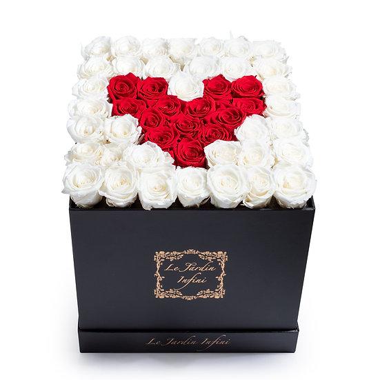 Heart Design Red & White Preserved Roses - Large Square Black Box