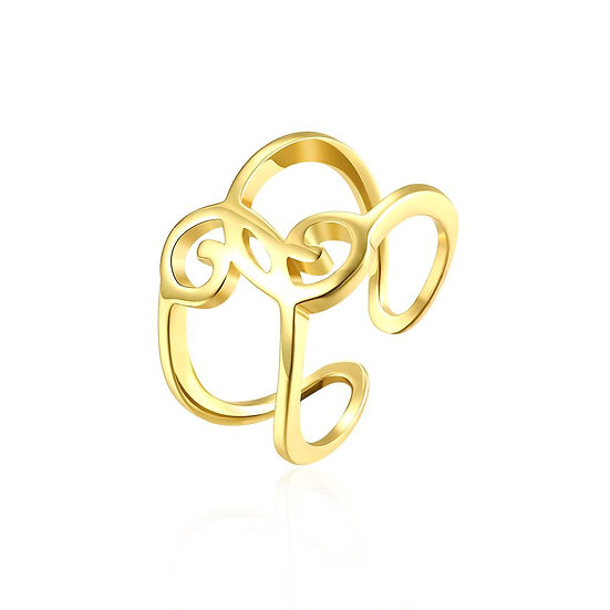18K Gold Plated Symbolic Abstract  Ring