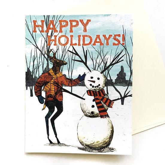 """Happy Holidays"" Snowman Deer Card or Card Set"