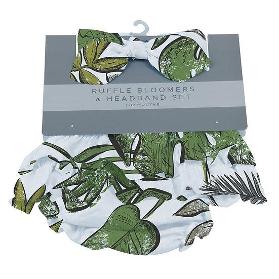 Jurassic Forest Ruffle Bloomers and Headband Set