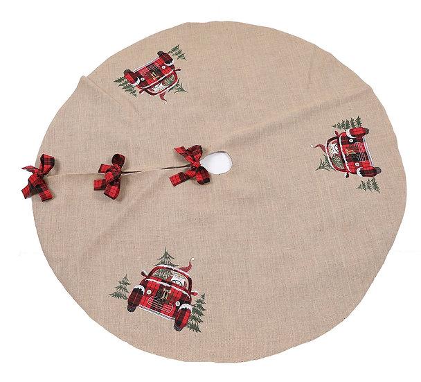 XD19884-Santa Claus Riding On Car Christmas Tree Skirt 56 Inch Round,