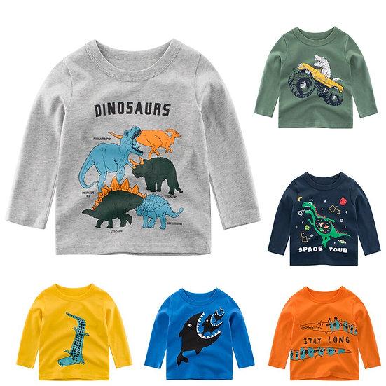 Toddler Kids Baby Boy T-Shirt Long Sleeve Cartoon