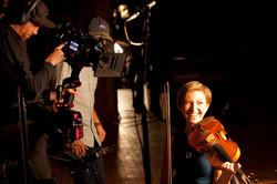 Playing on set
