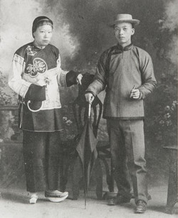 Chinese Couple, Head Cook of Ojai's Thacher School in 1906