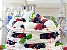 Summer Berry Pavlova With Bourbon Whipped Cream