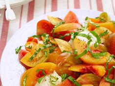 Tomato and Peach Salad with Burrata