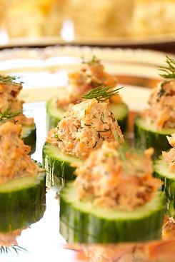 Smoked Salmon Tartare on Cucumber Rounds by Alex Hitz