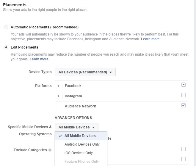 Facebook setting for targeting iOS devices