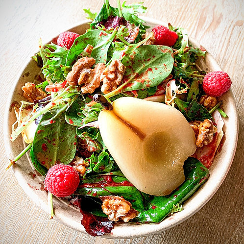 Organic Poached Pear & Raspberry Vinaigrette Salad