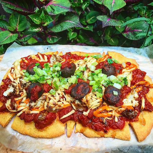 Organic Salted Cauliflower Mushroom Meatball Pizza