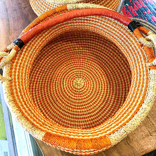 Hand-woven Large Orange Striped Basket from Ghana