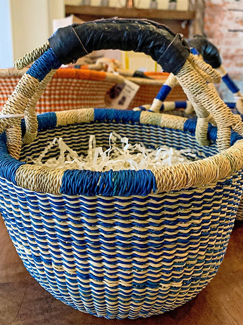 Hand-woven Small Blue Striped Basket from Ghana