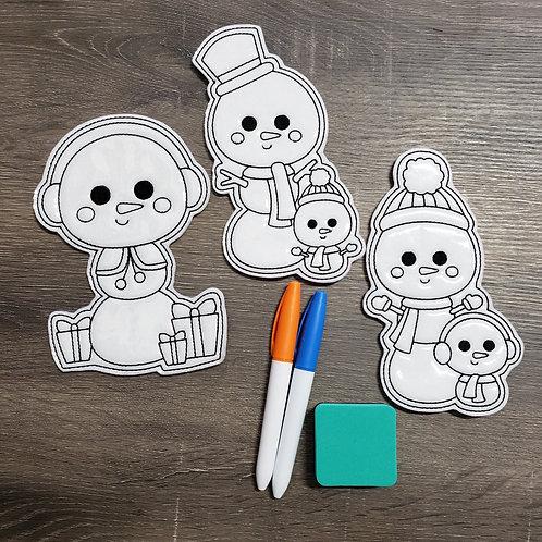Snowmen Flat Coloring Dolls