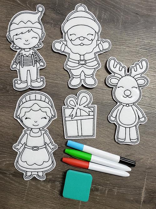 Santa Flat Coloring Dolls