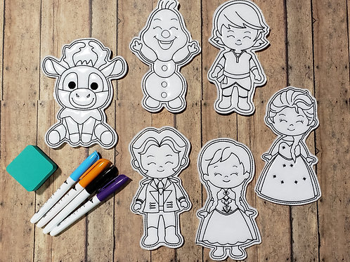 Frozen Flat Coloring Dolls