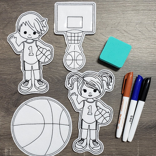 Basketball Flat Coloring Dolls