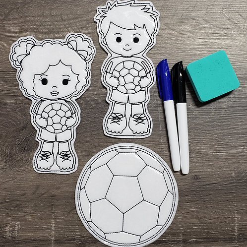 Soccer Flat Coloring Dolls