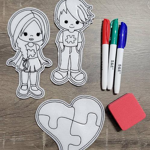 Autism Flat Coloring Dolls