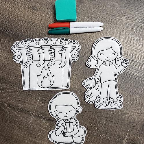 Chimney Flat Coloring Dolls