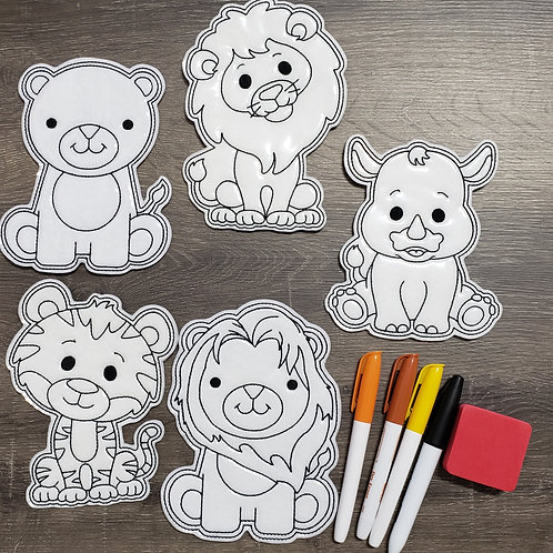 Zoo Flat Coloring Dolls