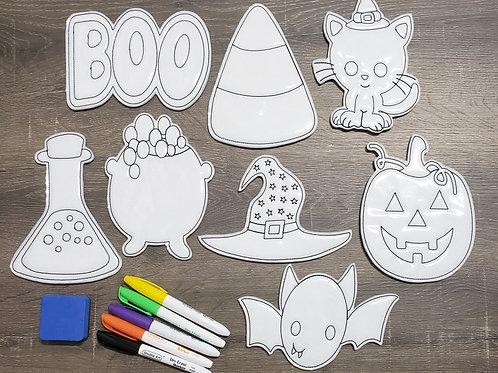 Halloween Flat Coloring Dolls