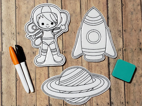Space Flat Coloring Dolls