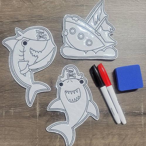 Shark Flat Coloring Dolls