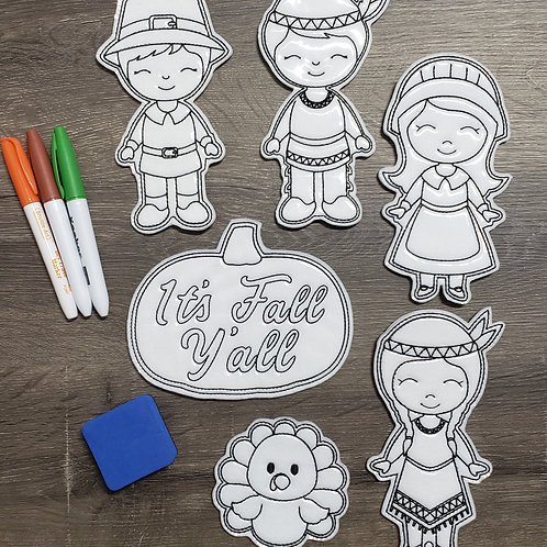 Thankful Flat Coloring Dolls
